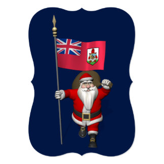 Santa Claus With Ensign Of Bermuda Card