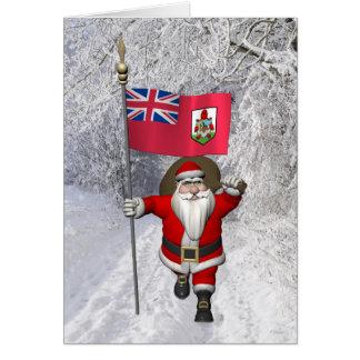 Santa Claus With Ensign Of Bermuda Card