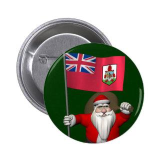 Santa Claus With Ensign Of Bermuda Pinback Button