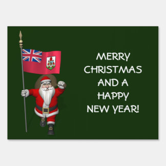 Santa Claus With Ensign Of Bermuda Sign