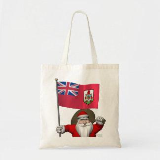 Santa Claus With Ensign Of Bermuda Tote Bag