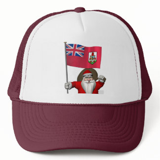 Santa Claus With Ensign Of Bermuda Trucker Hat