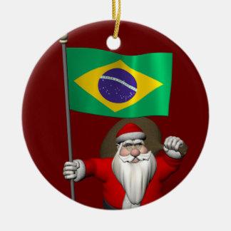 Santa Claus With Ensign Of Brazil Ceramic Ornament