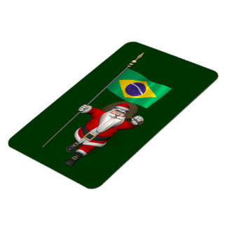 Santa Claus With Ensign Of Brazil Magnet