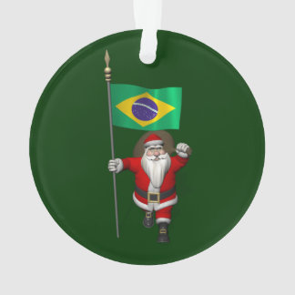 Santa Claus With Ensign Of Brazil Ornament