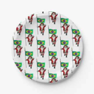 Santa Claus With Ensign Of Brazil Paper Plate