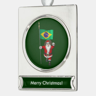 Santa Claus With Ensign Of Brazil Silver Plated Banner Ornament