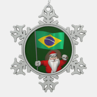 Santa Claus With Ensign Of Brazil Snowflake Pewter Christmas Ornament