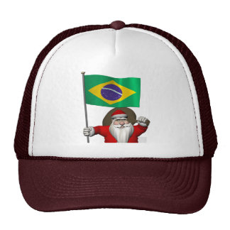 Santa Claus With Ensign Of Brazil Trucker Hat