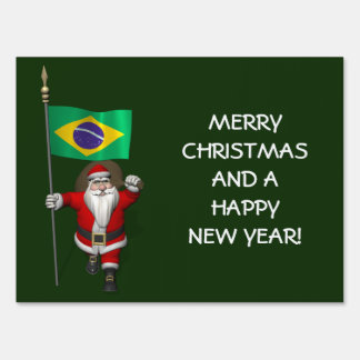 Santa Claus With Ensign Of Brazil Yard Sign