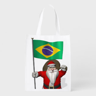 Santa Claus With Ensign Of Brazil Grocery Bag