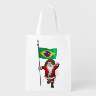 Santa Claus With Ensign Of Brazil Grocery Bags