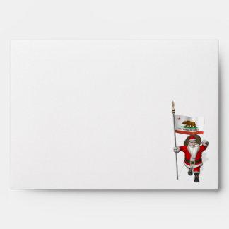 Santa Claus With Ensign Of California Envelope