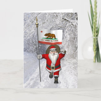 Santa Claus With Ensign Of California Holiday Card