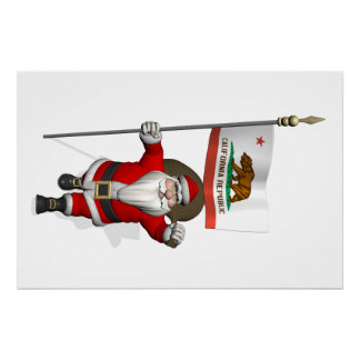 Santa Claus With Ensign Of California Poster