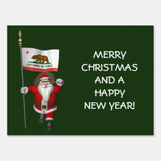 Santa Claus With Ensign Of California Sign