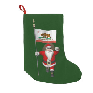 Santa Claus With Ensign Of California Small Christmas Stocking