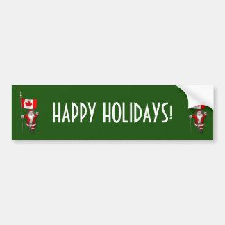 Santa Claus With Ensign Of Canada Bumper Sticker