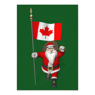 Santa Claus With Ensign Of Canada Card