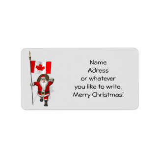 Santa Claus With Ensign Of Canada Label