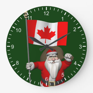 Santa Claus With Ensign Of Canada Large Clock