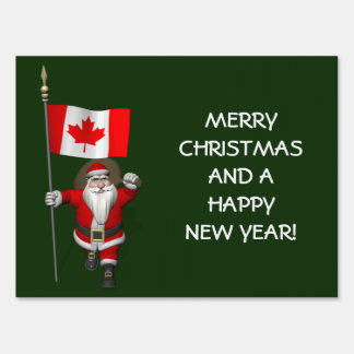 Santa Claus With Ensign Of Canada Lawn Sign