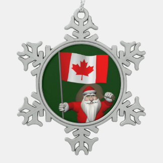 Santa Claus With Ensign Of Canada Snowflake Pewter Christmas Ornament