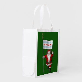 Santa Claus With Ensign Of Chicago Grocery Bag