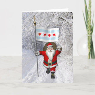 Santa Claus With Ensign Of Chicago Holiday Card