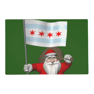 Santa Claus With Ensign Of Chicago Placemat
