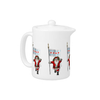 Santa Claus With Ensign Of Chicago Teapot