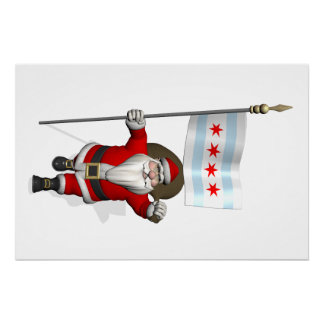Santa Claus With Ensign Of Chicago Perfect Poster