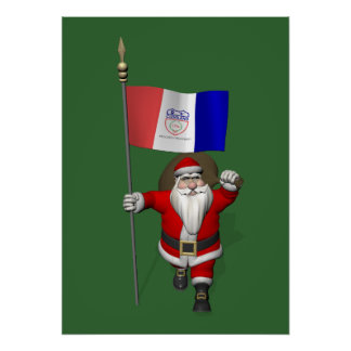 Santa Claus With Ensign Of Cleveland Poster