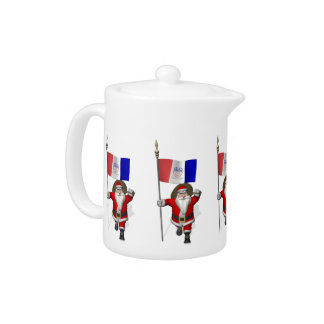 Santa Claus With Ensign Of Cleveland Teapot