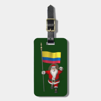 Santa Claus With Ensign Of Colombia Bag Tag