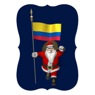 Santa Claus With Ensign Of Colombia Card