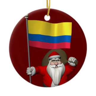 Santa Claus With Ensign Of Colombia Ceramic Ornament