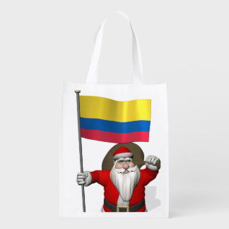 Santa Claus With Ensign Of Colombia Grocery Bag