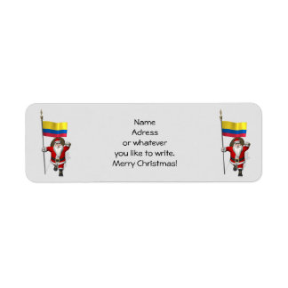 Santa Claus With Ensign Of Colombia Label