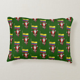 Santa Claus With Ensign Of Colombia Accent Pillow