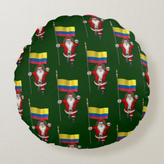 Santa Claus With Ensign Of Colombia Round Pillow