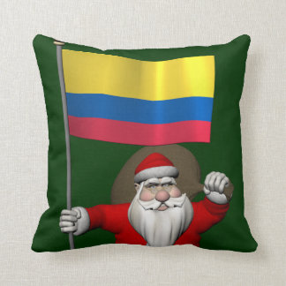 Santa Claus With Ensign Of Colombia Pillows