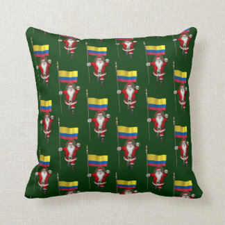 Santa Claus With Ensign Of Colombia Throw Pillows