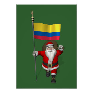 Santa Claus With Ensign Of Colombia Poster