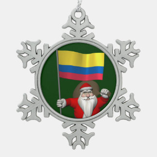 Santa Claus With Ensign Of Colombia Snowflake Pewter Christmas Ornament