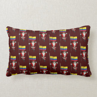 Santa Claus With Ensign Of Colombia Throw Pillow