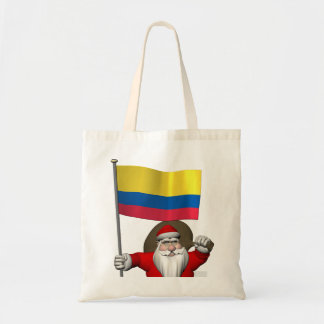 Santa Claus With Ensign Of Colombia Tote Bag