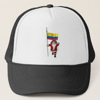 Santa Claus With Ensign Of Colombia Trucker Hat