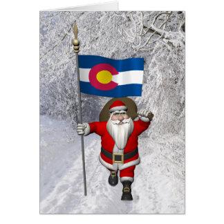 Santa Claus With Ensign Of Colorado Card