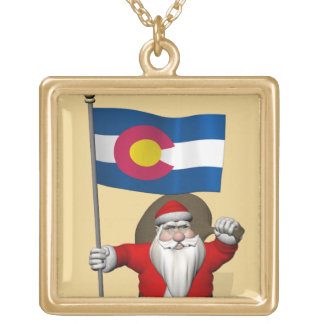Santa Claus With Ensign Of Colorado Gold Plated Necklace